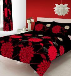PRINTED DUVET SET SOPHIA BLACK/RED