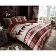 PRINTED HERITAGE STAG DUVET SET RED