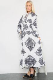 Printed Long Maxi Dress Black