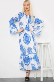 Printed Long Maxi Dress Blue