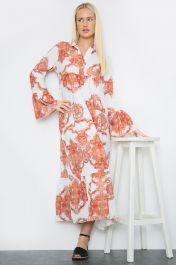 Printed Long Maxi Dress Rust