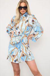Printed Shirt Dress With Matching Bag Orange
