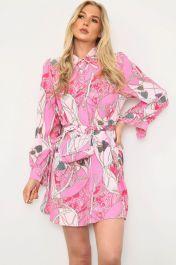 Printed Shirt Dress With Matching Bag Pink