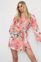 Printed Shirt Dress With Matching Bag Red
