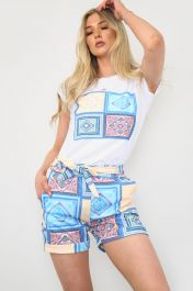 Printed Shorts & White Top Co-Ord Set Blue