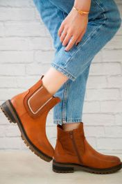 Pull On Zipped Plain Ankle Boots Camel
