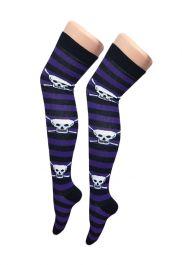 Purple Black Stripe Skull OTK Socks (12 Pairs)