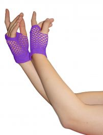 Purple Fingerless Short Fishnet Gloves