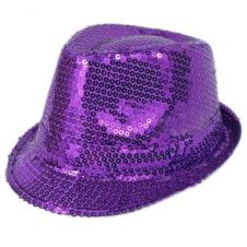Purple Sequin Gangster Hat