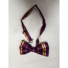 Maroon Yellow Striped Bow Tie