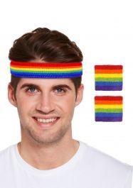 Rainbow Headband with wristbands Set