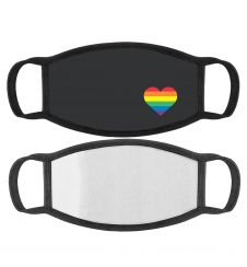 Rainbow Heart Printed Cotton Face Mask With Filter Pocket
