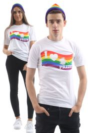 Rainbow Printed White T-Shirt