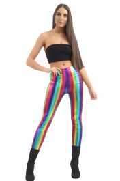 Rainbow Shiny Metallic Leggings
