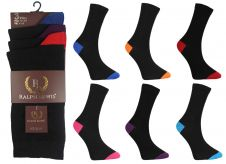 Mens Ralph Lewis Assorted Colour Heel & Toe Cotton Socks (12 Pairs)