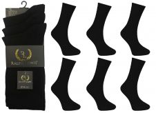 Mens Ralph Lewis Plain Black Cotton Socks (12 Pairs)