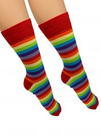 Men Red and Rainbow Ankle High Socks(12 Pairs)
