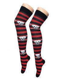 Red Black Stripe Skull OTK Socks (12 Pairs)