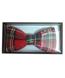 Red Cotton Tartan Bow Tie in Gift Box
