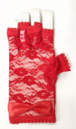 Red Fingerless Lace Gloves