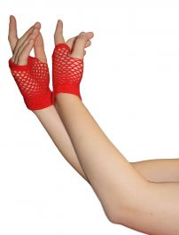 Red Fingerless Short Fishnet Gloves