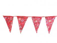 Red Flowery Bunting Flags w/ Red Lace