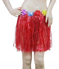 Red Hula Skirt with Flowers (40cm)