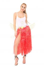 Red Hula Skirt with Flowers (80cm)