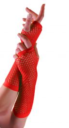 Red Long Fishnet Gloves (Dozen)
