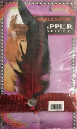 Red Sequin Flapper Head Band with Feathers