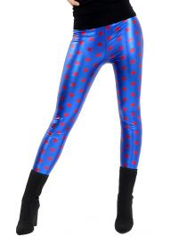 Red Star With Blue Shiny Metallic Leggings