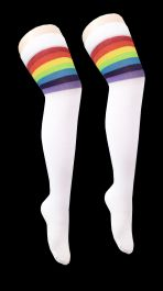 Referee White and Rainbow OTK Socks (12 Pairs)