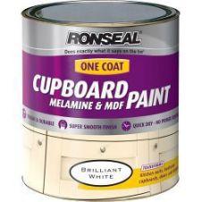 Ronseal One Coat Cupboard Melamine & MDF Paint 750ml - Brilliant White