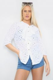 Ruffle Front Shirt White