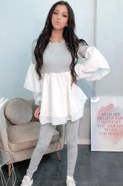 Ruffle Sleeved Layered Co-Ord Loungewear Set (Grey)