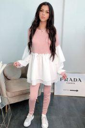 Ruffle Sleeved Layered Co-Ord Loungewear Set (Pink)