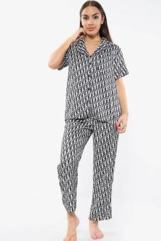 Satin Printed PJ Pyjama Set Trousers Black