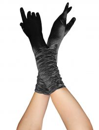 Satin Ruched Top Long Gloves Black