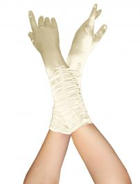 Satin Ruched Top Long Gloves Ivory
