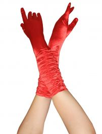 Satin Ruched Top Long Gloves Red
