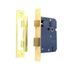 Securit 3 Lever Sash Lock Brass Plated with 2 Keys - 75mm