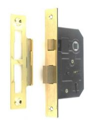Securit 3 Lever Sash Lock Brass Plated with 4 Keys - 75mm