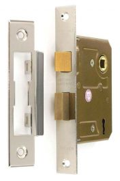 Securit 3 Lever Sash Lock Nickel Plated with 2 Keys - 75mm