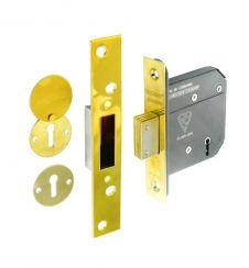Securit 5 lever dead lock BS3621 brass - 75mm