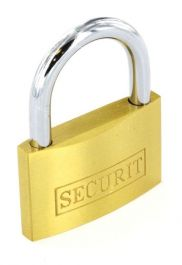 Securit Brass Padlock with 3 Keys - 35mm