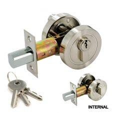 Securit Deadlock Thumb Set - Satin Nickel 55mm
