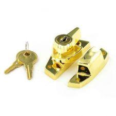 Securit Locking Sash Fastener Brassed - 65mm