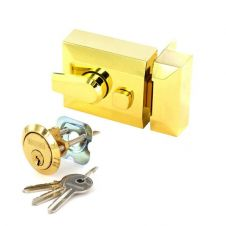 Securit Polished Brass Double Locking Nightlatch - Narrow