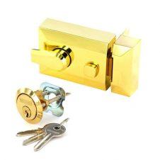 Securit Polished Brass Double Locking Nightlatch - Standard
