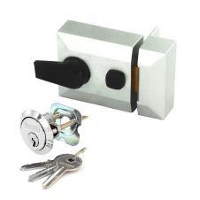 Securit Silver Finish Double Locking Nightlatch - Standard